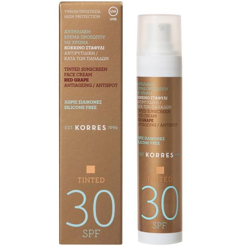 Korres Red Grape SPF30 Anti-Ageing/ Anti-Spot getönte Sonnencreme 50 ml