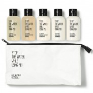 Stop the water while using me! All natural Travel Kit