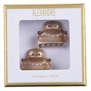 Alexandre de Paris Pince Vendôme Baby mit Straßreihe Champagner/ Gold 2 Stk.