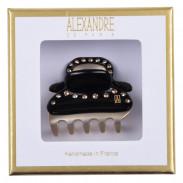 Alexandre de Paris Pince Vendôme 45 mit Straßreihe Schwarz/ Gold