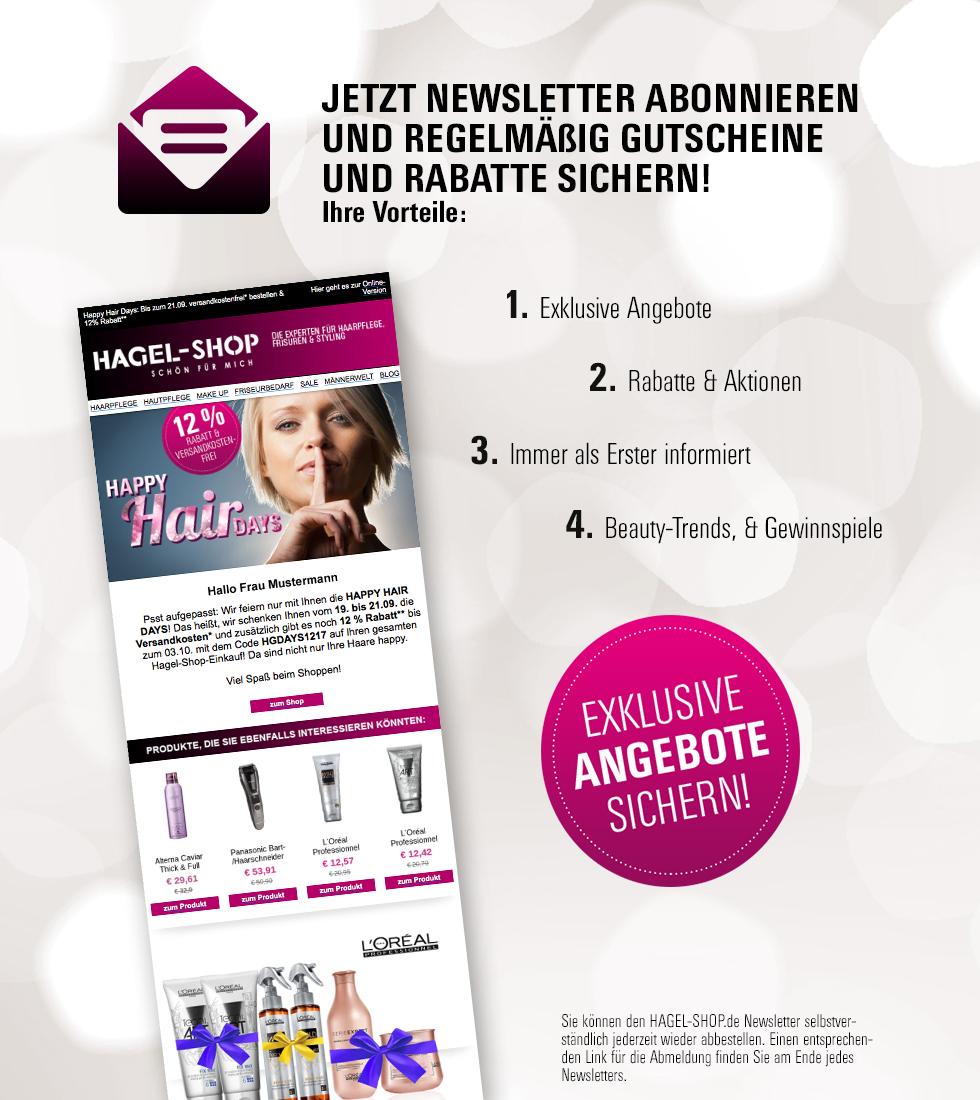 Newsletter abnonieren und mit den nächsten Newsletter Gutschein sichern! Immer zuerst informert, extra Rabatte, Aktionen und viele mehr!